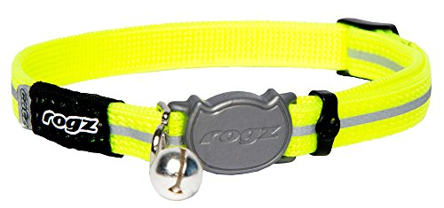 ROGZ ALLEYCAT CAT COLLAR WITH BREAKAWAY BUCKLE AND NIGHT TIME VISABILITY (Daylgo))