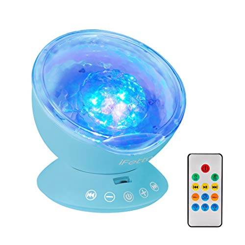 Ifecco luce notturna bambini oceano luce proiettore con telecomando, timer, altoparlante, 7 modalita perfetto per addormentarsi, camera da letto, compleanno, natale, decorazione per la festa