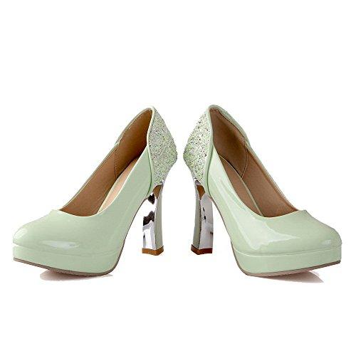 VogueZone009 Femme Tire Verni Rond à Talon Haut Chaussures Légeres Vert