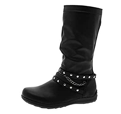 Black Knee Length Riding Cowboy Studded Chain Boots Childrens Girls Size UK 11.5