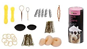 Bundle Monster Haar-Design-Set mit 9 Frisurutensilien wie Donut-Duttkissen, Haarvolumenkissen, Haarflechter, Elastikringen und Haarklammern fuer BLONDES Haar
