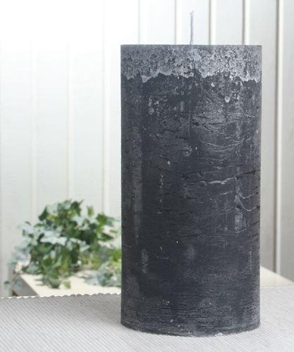 Rustik-Stumpenkerze, 20 x 10 cm Ø, anthrazit-schwarz
