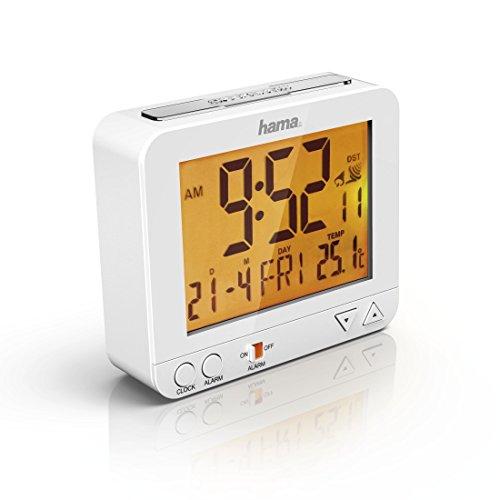Hama RC550 Funk Wecker (sensorgesteuerte Nachtlichtfunktion, Schlummerfunktion, Temperatur- und Datumsanzeige) weiß