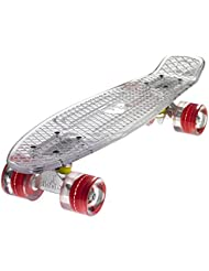 Ridge Blaze Mini Cruiser Skateboard Skate Transparent avec Roues Lumineuses LED: Planche a Roulettes complet
