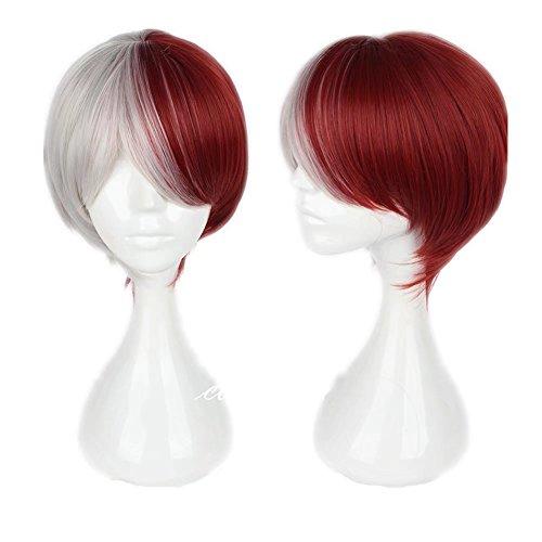 COSPLAZA Short Straight Silber Rot Cosplay Kostüm Perücken Comic Cons Haar - Comic Con Kostüm Sexy