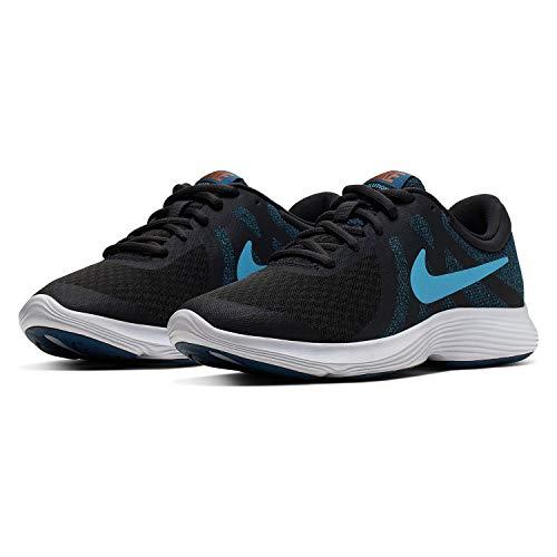 Nike Jungen Revolution 4 (GS) Laufschuhe, Schwarz (Off Noir/Light Current Blue Force-Metallic Copper 016), 37.5 EU
