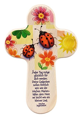 Taufkreuz / Holzkreuz für Kinder mit Marienkäfer. Ein Wandkreuz zur Taufe als Taufgeschenk. Kreuz / Holzkreuz für Kinder (Baby, Taufkind) mit Taufspruch und Marienkäfer