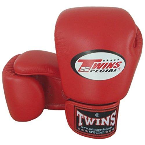8-10-12-14-16 oz. Rot Red Twins Special Muay Thai Profi Leder Boxhandschuhe (BGVL-3) (4.)  14 Oz.) (Muay Thai Special Twins)