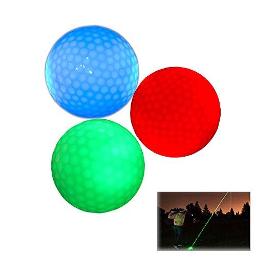 SPLHMILY 3PCS LED Blinkende Golfbälle leuchtende Standardnacht Neuheit-GolfbälleTrickbälle, die für Das Nachtgolfen