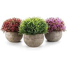 MuciHom Plantas Artificiales Pancromático Talla Pequeña Plásticas Paquete de 3, Planta Decorativa Falsas Flores Decoración