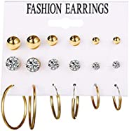 Exquisite And Affordable Fashion Alloy Faux Pearls 9 Pairs Of Earrings Set for Women Girls Simple Hoop Earring