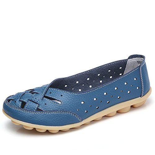 SCIEU Damen Mokassin Bootsschuhe Hohl Leder Loafers Schuhe Flache Fahren Halbschuhe Slippers, Blau 36