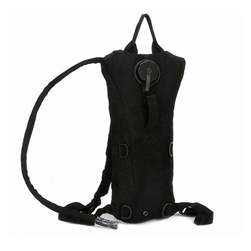 ZOORON regolabile portatile durevole 3L idratazione CamelBak acqua zaino della vescica con per caccia sopravvivenza escursioni arrampicata ciclismo running, Black