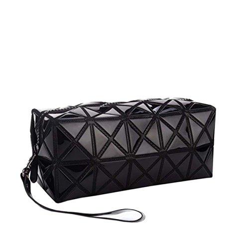 Kosmetiktasche Makeup Beutel Werkzeugspeicher Grid Cube Handtasche Geometrische Faltbare Rhombus Tote Pouch Purse Kulturbeutel,Black