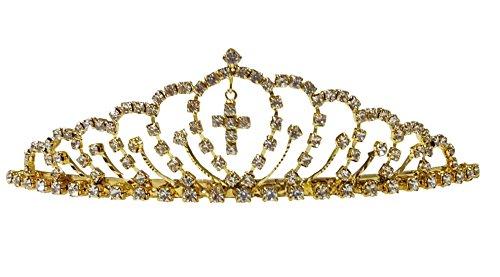 Shop Ginger Wedding Girls Gold Silver Rhinestone First Communion Cross Tiara Crown