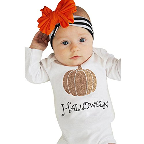 Kinder Kleidung Set Btruely Halloween Kürbis Langarm Spielanzug Bein Wärmer Outfit Set (90, Weiß)