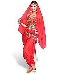 Le ventre de SymbolLife Lady danse indienne en mousseline de soie Bandage Haut Avec Chest Pad + Pantalon court + ceinture + grand foulard tete pendante Bells et des Monnaies