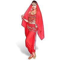 Belly CoastaCloud donna danza del Ventre Costume per danza Top Pantaloni cinturino Collana da donna, in Voile