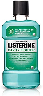 Listerine Cavity Fighter Mouthwash Liquid, Removes 99.9% Germs, prevents cavities, 500ml