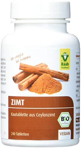 Raab Vitalfood Bio Zimt-Tabletten, 240 Kautabletten à 250 mg, hochdosiert, Premium Ceylon-Zimt, vegan, glutenfrei, 1-er Pack (1 x 60 g) - Bio