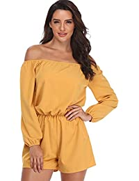 679960c086d MISS MOLY Womens Playsuits Rompers Jumpsuits Ladies Off Shoulder Sexy  Strapless Long Sleeves Waist Tie