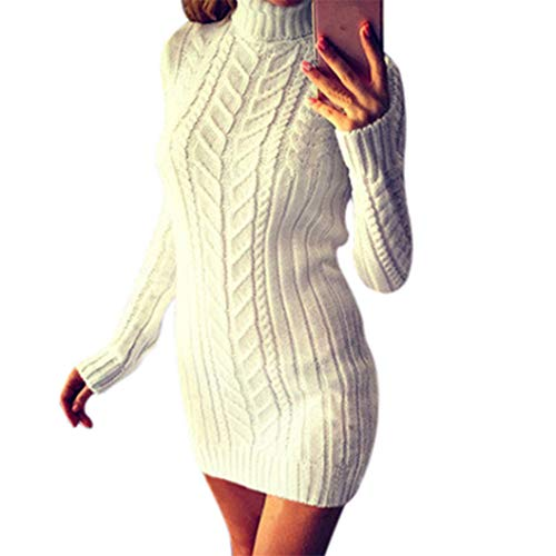 KEERADS Femmes Hiver Chaud Solide Tricot Col Roulé Rayure Twist Pull À Manches Longues Mini Robe Slim Pullover(S,Blanc)