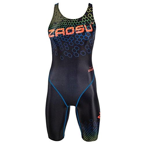 ZAOSU Wettkampf-Schwimmanzug Z-Hex - Badeanzug mit Bein für Damen und Mädchen, Größe:44
