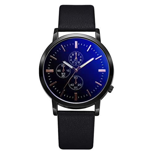 friendGG_Armbanduhren Herren Geschäfts einfache Art und Weise gefälschte DREI Augen wählen Persönlichkeitsuhr beiläufiges Luxuxnetz mit Bügelauge einzigartiges analoge Uhren für Edelstahlband