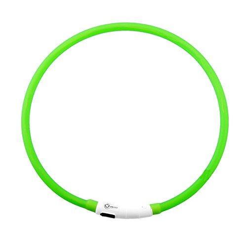 TONGDAUR Grün USB Wiederaufladbare LED Leucht Hundehalsband Wasserdicht Einstellbar Blinkende Glowing Pet Sicherheit Kragen 1 STÜCKE Led Lichter -