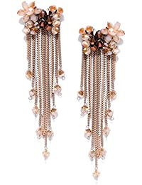 Jewels Galaxy Exclusive Luxuria Brilliant Colors Florets Design Gold Plated Plushy Onyx Tassel Earrings For Women/Girls
