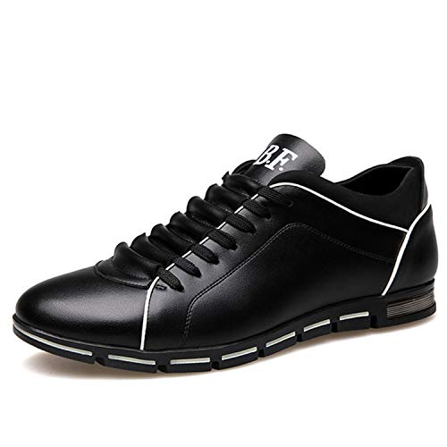 Men Casual Shoes Leather Loafers Male Flats Lace-up Driving Shoes for Male Shoes Adult Summer Plus Size 37-48 Mocassin Homme Black 10