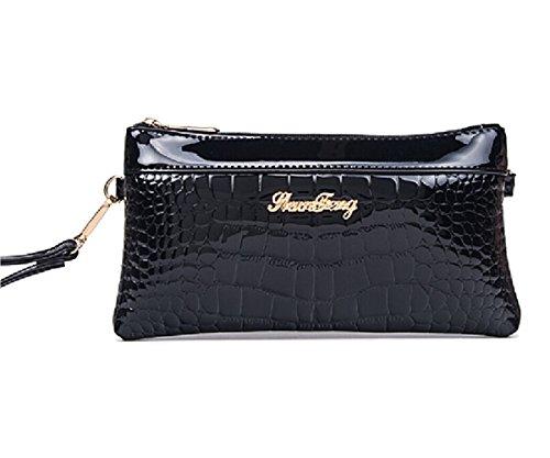 Tiny-Damen Krokodil Print Patent Leder Handtasche Clutch Wallet Umhängetasche Casual Bag, Schwarz - schwarz - Größe: