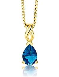 ByJoy - Collier avec Pendentif - Argent 925/1000 - Poire - Bleu - Topaze - Femme