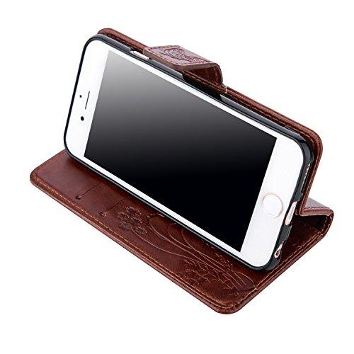 Cozy Hut iPhone SE 5 5S 5C PU Case,Slim-Fit Folio Smart Cuir Portefeuille Case Coque pour iPhone SE 5 5S 5C ,Soutien Flip Protection avec, Fleur de papillon Motif Cover Mode Fashion Motif PU Leather W brun