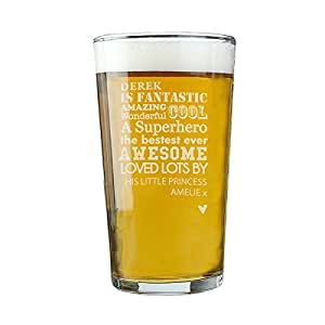 Father's Day 'He is' Personalised Pint Glass