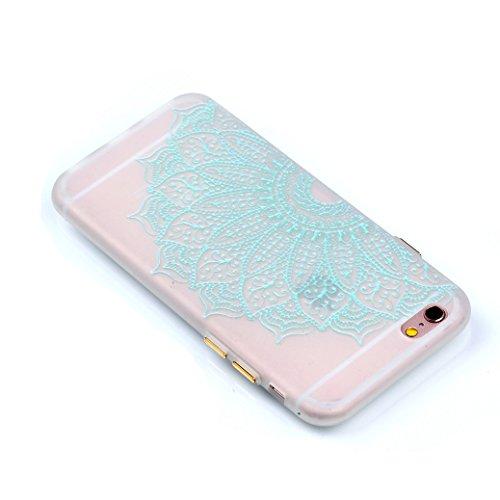 Custodia iPhone 6/6S AllDo Custodia in Silicone Luminoso Bagliore nel Buio Cover di Gomma Trasparente Custodia Liscio Leggero Case Disegno di Modello Stampato Custodia Morbida Flessibile con Bottoni L Mandala