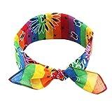 Brucelin - Fascia a righe arcobaleno, bracciale hip-hop bandana orecchie di coniglio bandana sciarpa in cotone con tasca