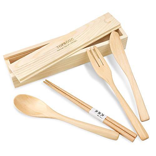 Besteck aus 100% handgefertigtem Holz für Reisen, Camping, Besteck-Set, 4-teilig, Messer, Löffel, Essstäbchen, tragbares Reisegeschirr-Set mit Holz-Organizer-Box (4 Holz-Besteck-Set)