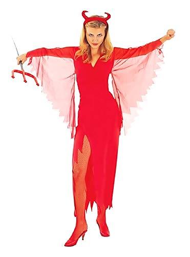 Costume Diavolo - Travestimento - Carnevale - Halloween - Demone Infernale - Sexy - Colore Rosso - Adulti - Donna - Ragazza - Taglia M - Idea Regalo per Natale e Compleanno