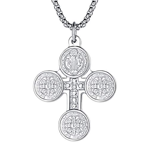 Damen mit Kreuz Anhänger Edelstahl, 925 Sterling Silber Kreuz-Kette inkl. 55cm Silberkette- St. Benedict Medaillon Heilige Schmujck mit Zirkon ()
