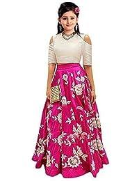 bless you enterprise Girl's Banglory Silk Semi-Stitched Lengha Choli (Pink, Free Size, 11-14 Year)