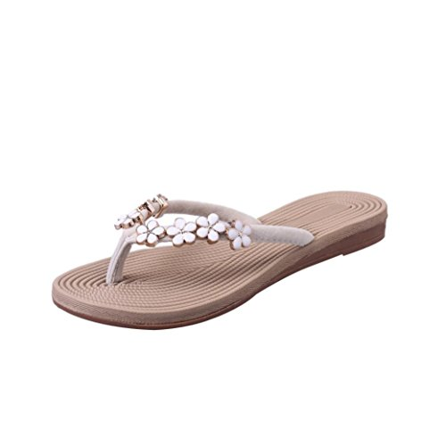 VJGOAL Damen Zehentrenner, Damen Mode Böhmische Sommer-Sandelholz-Pantoffel Innenim Freien Flache Strand-Schuhe Flipflops (35 EU, Beige)