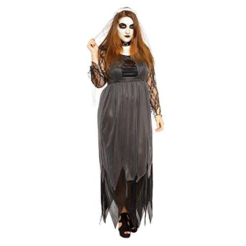 Übergröße Kostuem Geisterbraut Zombiebraut Geist Braut Kostuem Halloween Fasching Karneval Hexe Verkleidung (Braut Kostüm Hexe)
