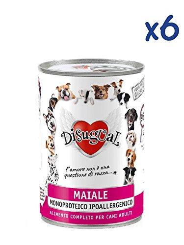 Disugual Monoproteico al maiale (6x400g) - Cibo umido ipoallergenico al maiale, per cani adulti