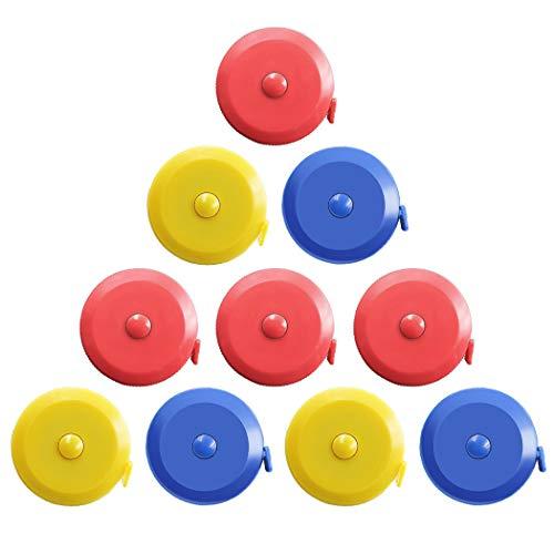 10 x einziehbares doppeltes weiches Maßband, 1,5 m, tragbares flexibles Maßband, flexibles Lineal für Kleidung, Körpergröße, Taille, Diät Nähen 10Pcs Random colors (Flexible Maßband Einziehbare)