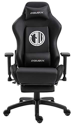 Dowinx Gaming Stuhl Ergonomischer Büro Lehnstuhl für PC mit Massage Lordosenstütze, Racing Stil Sessel PU-Leder-E-Sport-Gamer Stühle mit Ausziehbarem Fußraste (schwarz)
