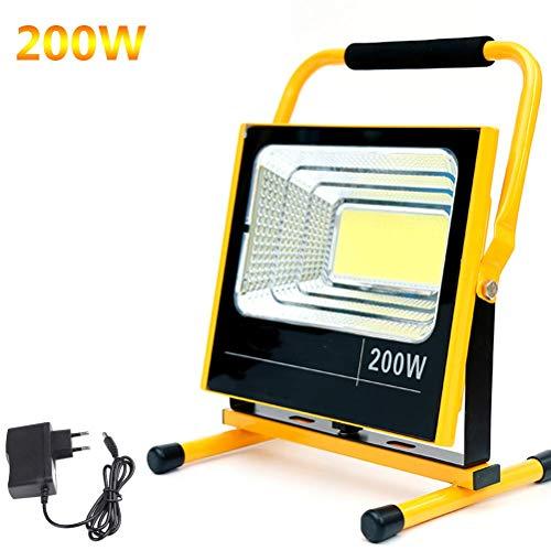 LXDDP 200W super helle LED-BAU-Flut-Beleuchtung, Wieder aufladbare tragbare Flut-Beleuchtung im Freien, Batterie 12000mAh, wasserdichte Arbeits-Lichter IP65