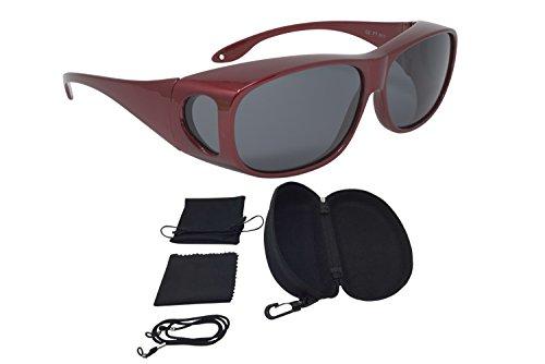 Sonnenüberbrille Überzieh Sonnenbrille CLASSIC EDITION polarisiert UV 400 (Rot)