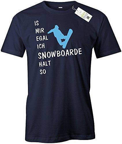 IS MIR EGAL ICH SNOWBOARDE HALT SO - HERREN - T-SHIRT Navy
