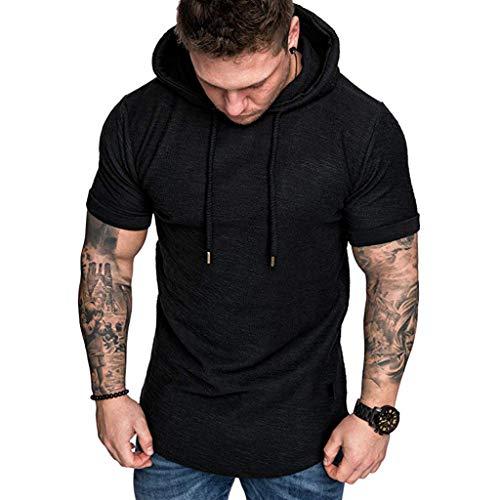 Clearance!Herren Fashion Slim Fit Bluse Lkoezi Männlich Casual Bluse Große Größe Kurze Beliebte Ärmel Hoodie Shirt Tops - Männliche Hoodies